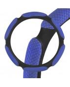 Оплетка кожаная 6 подушечек M Синяя  SKYWAY сетка ECO