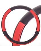 Оплетка кожаная M черная SKYWAY с красными вставками S01102359