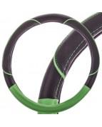 Оплетка кожаная M Черная SKYWAY с зеленой вставкой и зеленой полоской